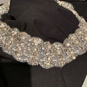 Vintage rhinestone and pearl trim
